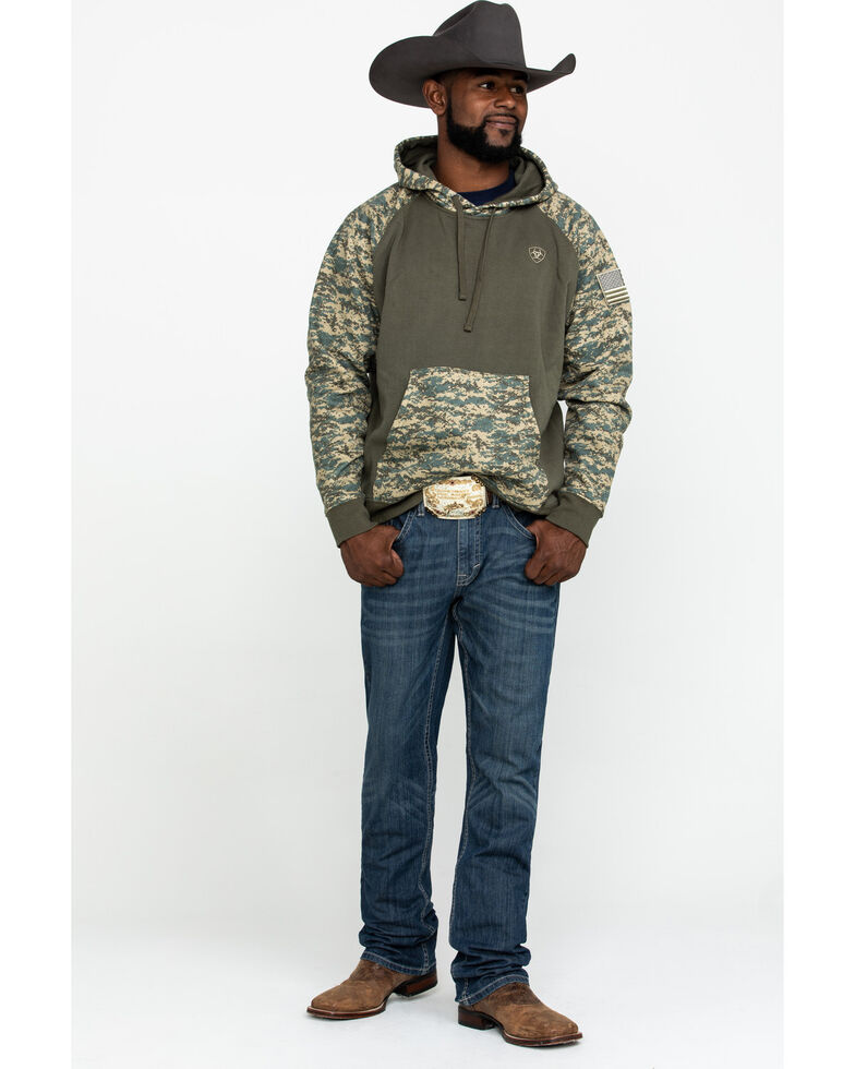 Ariat Men's Sage Camo Patriot Hooded Sweatshirt , Green, hi-res