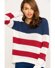 Ocean Drive Women's Americana Stripe Sweater, Red/white/blue, hi-res