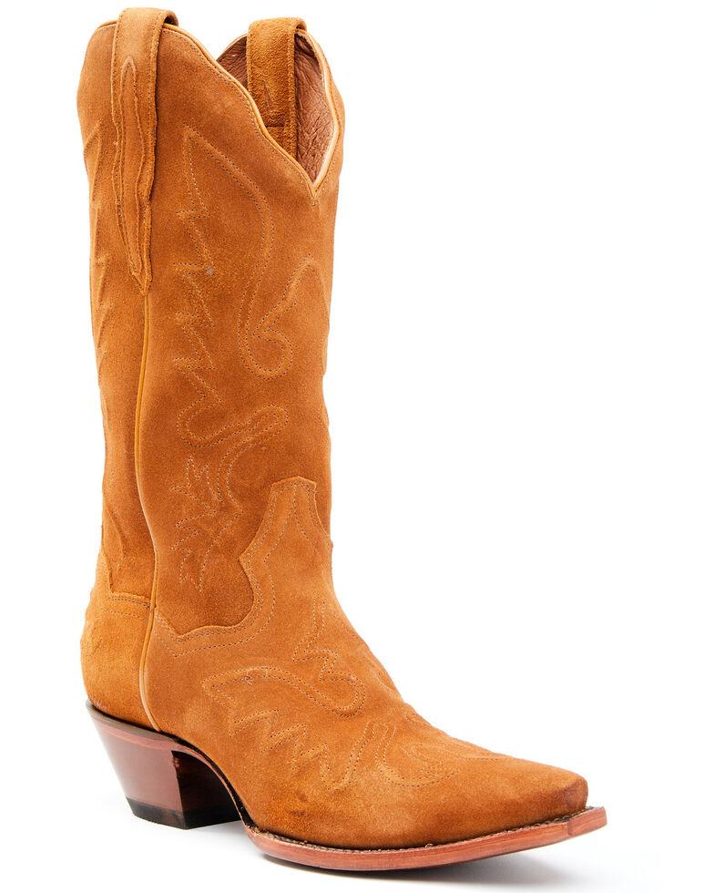 Dan Post Women's Tan Suede Western Boots - Snip Toe, Honey, hi-res