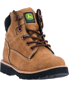 John Deere Boys' Rubber Outsole Work Boots - Round Toe , Tan, hi-res