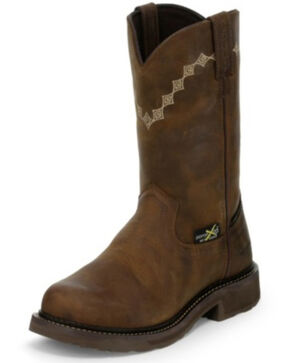 Justin Women's Lanie Waterproof Western Work Boots - Composite Toe, Brown, hi-res