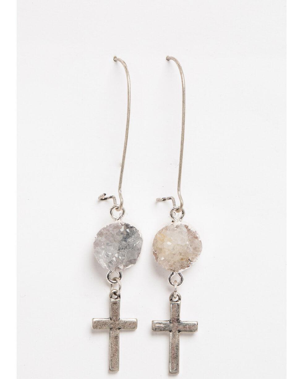 Shyanne Women's Crystal Cross Druzy Cross Hook Earrings, Silver, hi-res