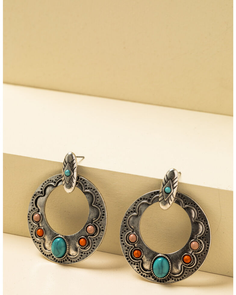 Shyanne Women's In The Oasis Antique Silver Stone Hoop Earrings , Silver, hi-res