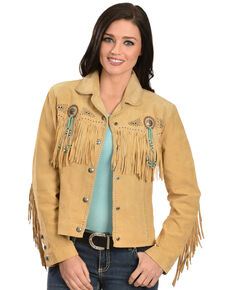 Scully Fringe & Beaded Boar Suede Leather Jacket, Chamois, hi-res