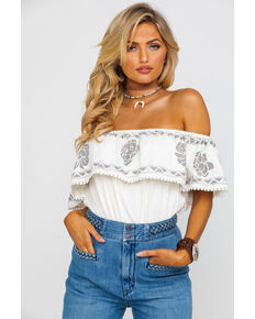 Rock & Roll Cowgirl Women's Embroidered Ruffle Off Shoulder Top  , Ivory, hi-res