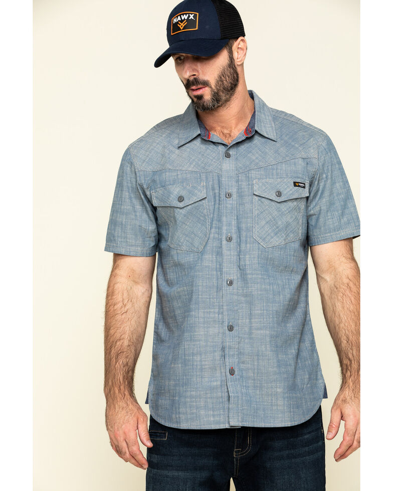 Hawx Men's Rancho Chambray Solid Short Sleeve Work Shirt , Blue, hi-res