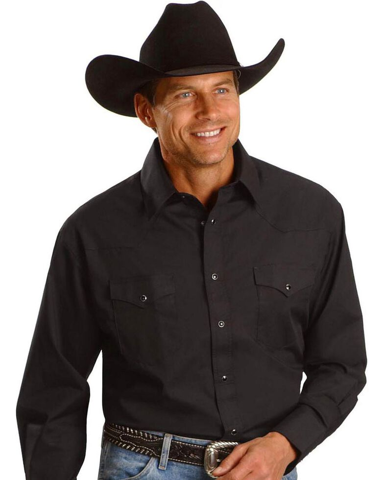 Wrangler Men's Polyester Broadcloth Dress Shirt, Black, hi-res