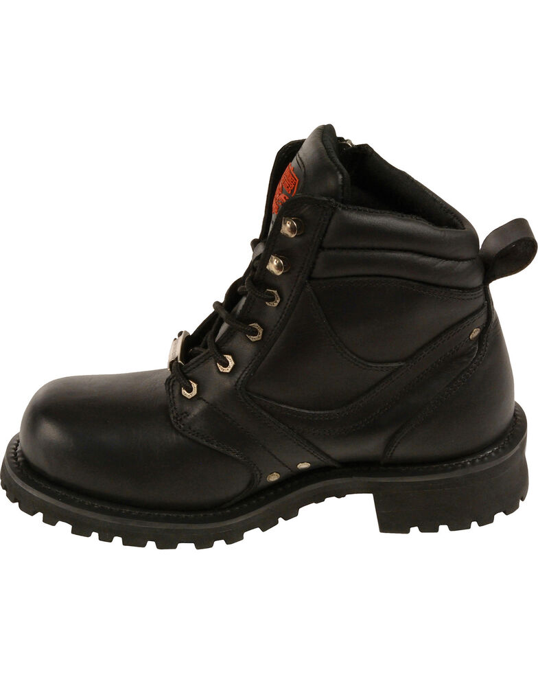 """Milwaukee Leather Men's 6"""" Side Zipper Boots - Round Toe - Wide, , hi-res"""