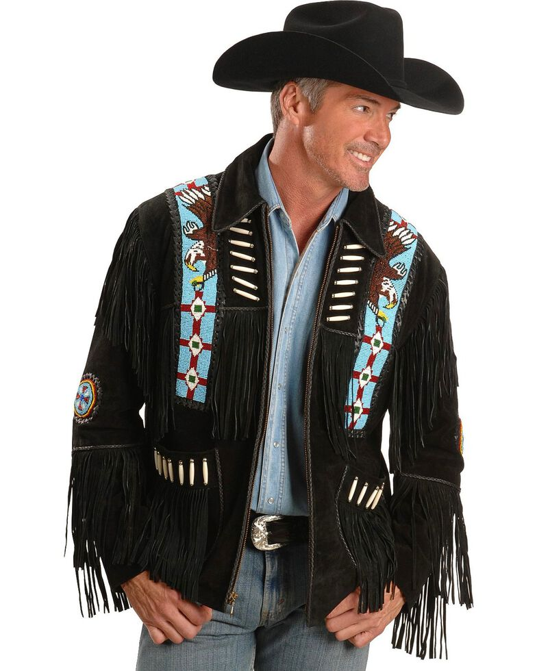 Liberty Wear Men's Bone Fringed Suede Leather Jacket, , hi-res