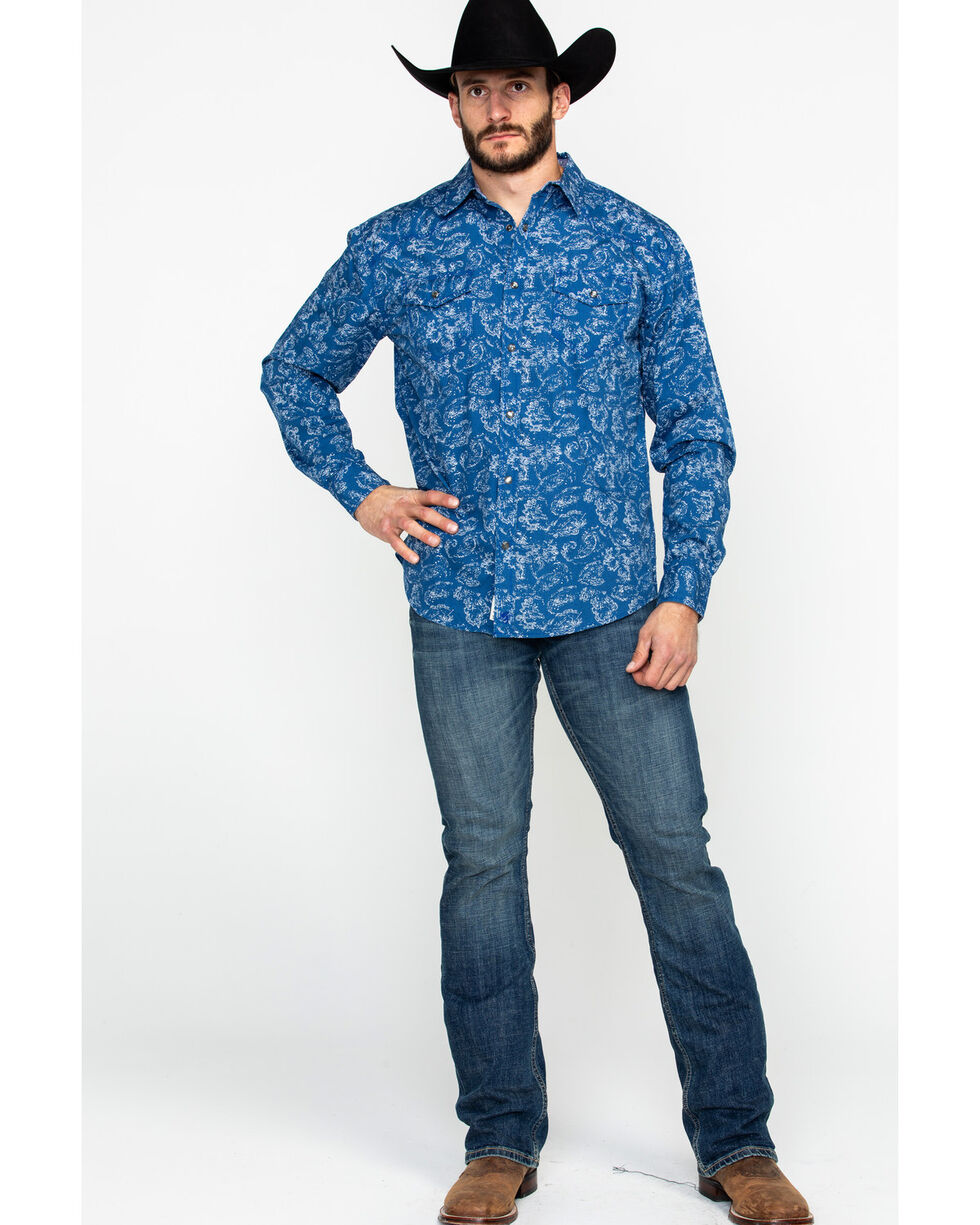 Moonshine Spirit Men's Distortion Peddle Paisley Print Long Sleeve Western Shirt , Blue, hi-res