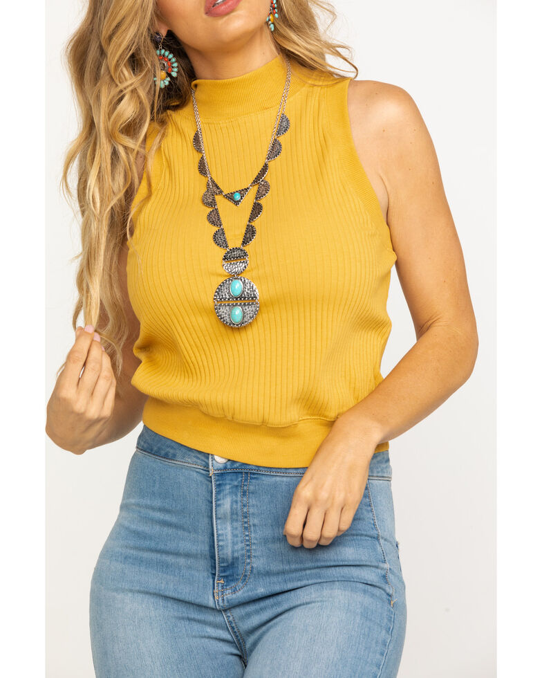 Eyeshadow Women's Mustard Turtleneck Tank Top, Dark Yellow, hi-res