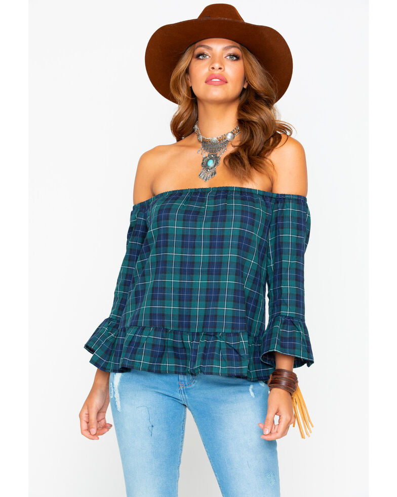 BB Dakota Women's Plaid Ruffle Off The Shoulder Top, Forest Green, hi-res
