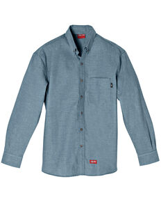 Dickies Men's Blue FR Chambray Long Sleeve Work Shirt, Blue, hi-res