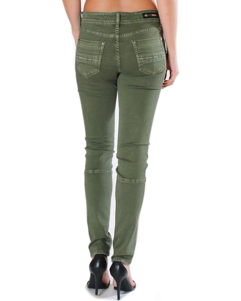 huge discount e9364 9e4ba Grace in LA Women's Green Moto Jeans - Skinny