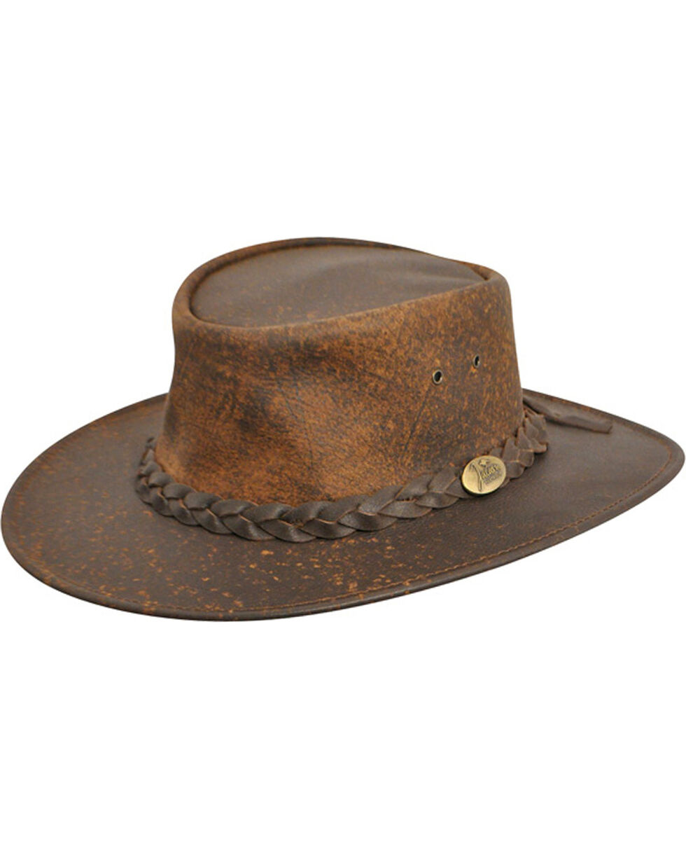 Jacaru Explorer Leather Outback Hat, Stonewash, hi-res