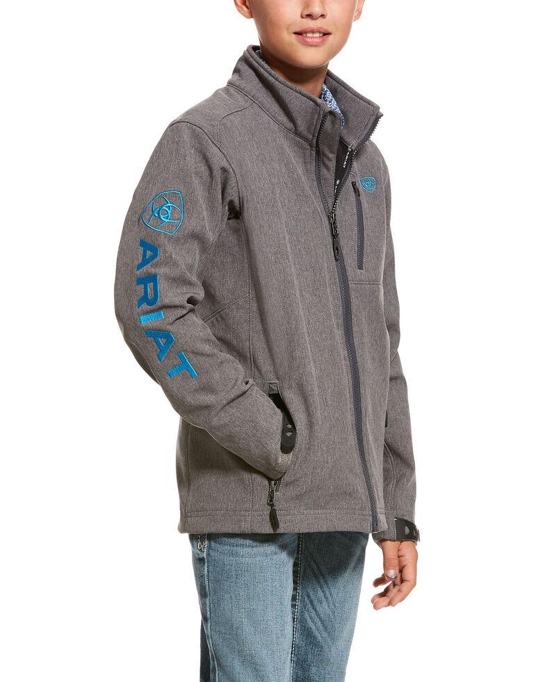 Ariat Boys' 2.0 Softshell Logo Zip Front Jacket , Charcoal, hi-res
