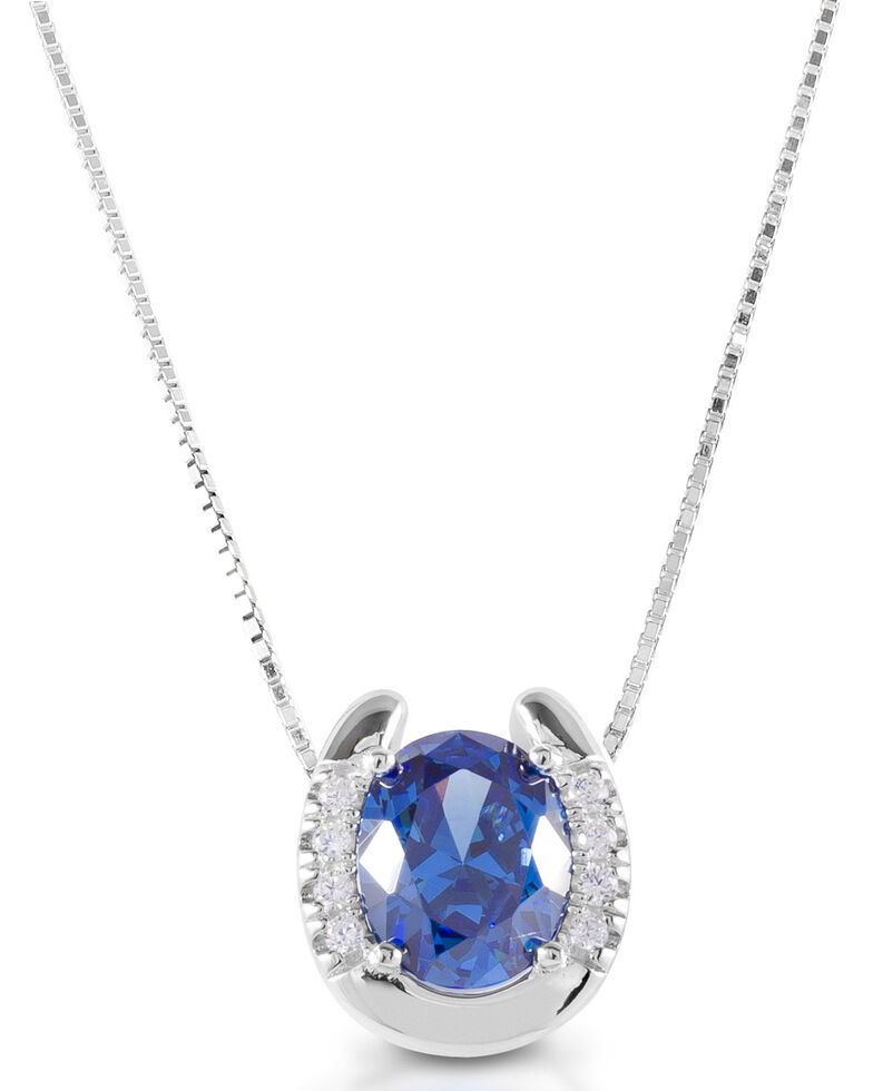 Kelly Herd Women's Blue Stone Horseshoe Necklace  , Silver, hi-res