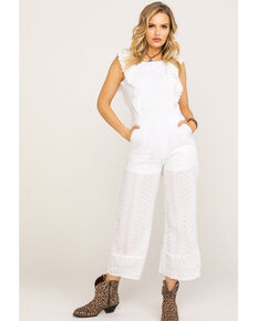 Polagram Women's White Ruffle Wide Leg Jumpsuit, White, hi-res