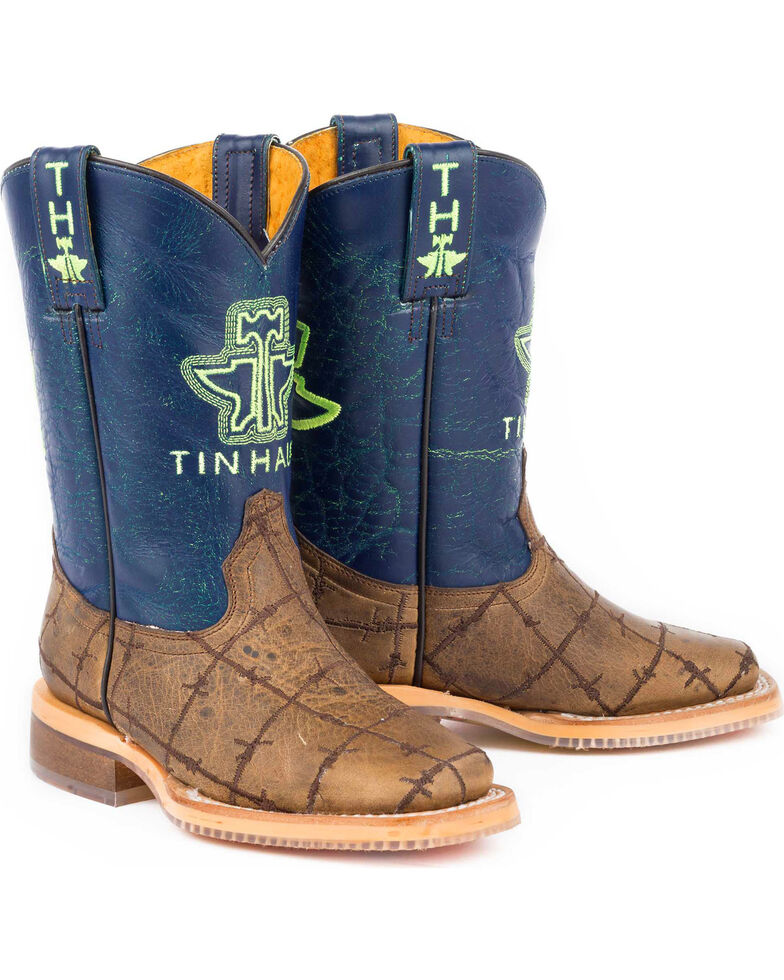 952a8a77777 Tin Haul Boys' Barbed Wire All Beef Sole Cowboy Boots - Square Toe