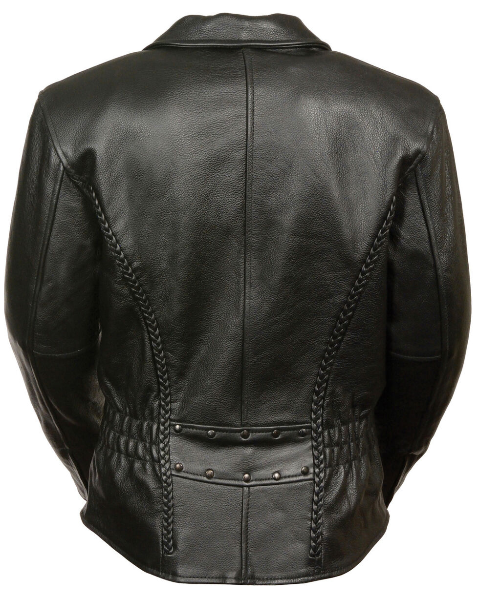 Milwaukee Leather Women's Braid & Stud Leather Jacket, Black, hi-res