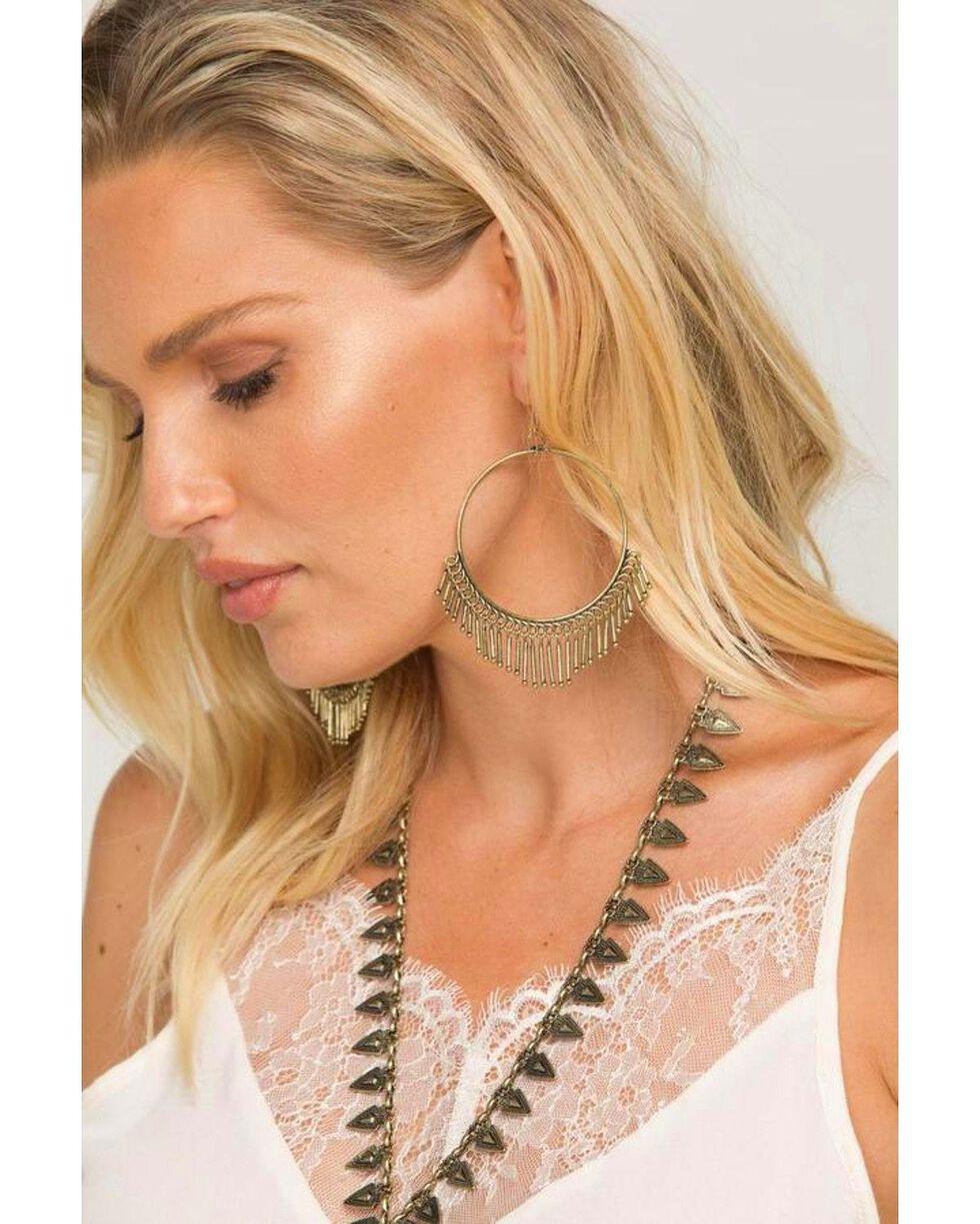 Idyllwind Women's Roundtop Brass Fringe Hoop Earrings, Gold, hi-res