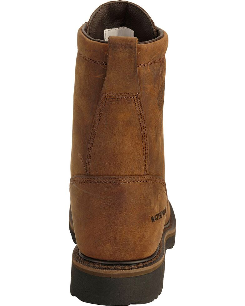 """Justin Men's Wyoming Waterproof 8"""" Lace-Up Work Boots, Brown, hi-res"""