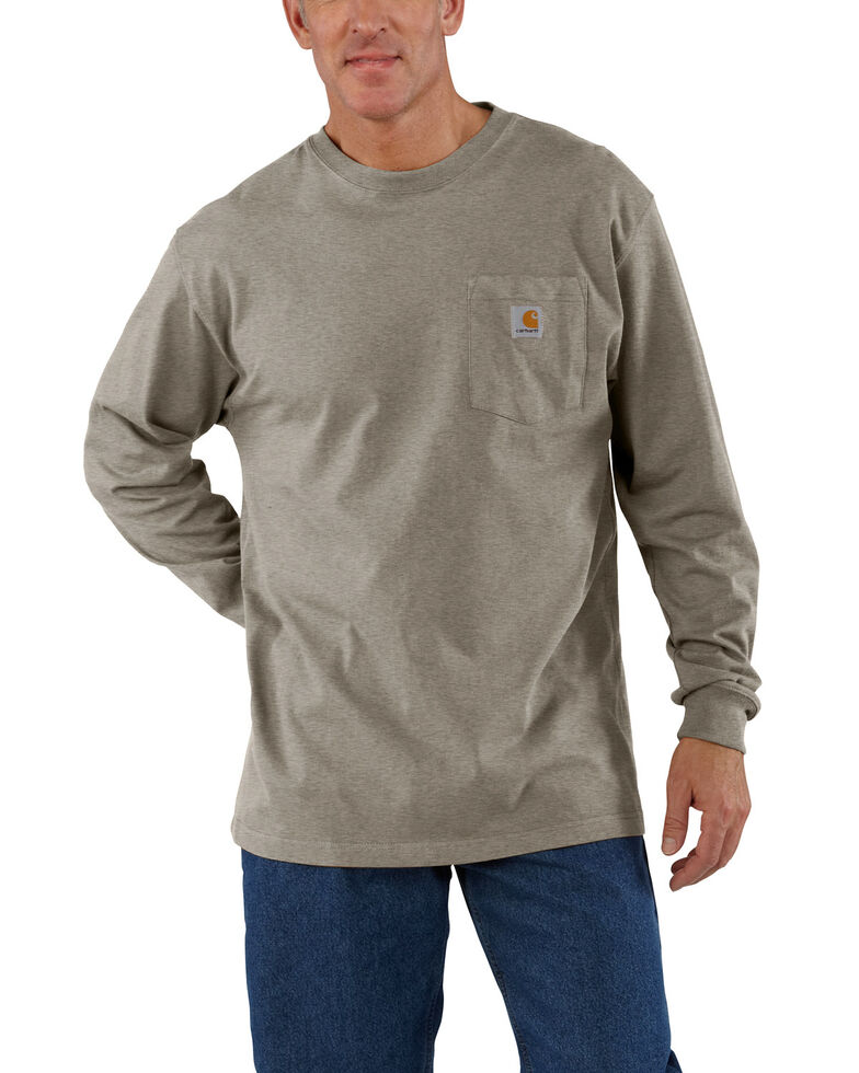 Carhartt Men's Pocket Long Sleeve Work Shirt - Tall, Tan, hi-res
