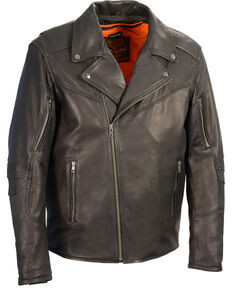 Milwaukee Leather Men's Black Lightweight Extra Long Biker Jacket - Big 5X , Black, hi-res