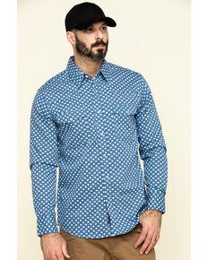 Rock & Roll Cowboy Men's FR Printed Medallion Twill Long Sleeve Work Shirt - Big , Blue, hi-res