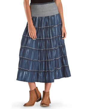 New Direction Sport Women's Indigo Denim Ruffle Long Skirt , Indigo, hi-res