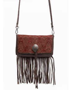 Shyanne Women's Laser Etched Baroque Fringe Crossbody Bag, Wine, hi-res