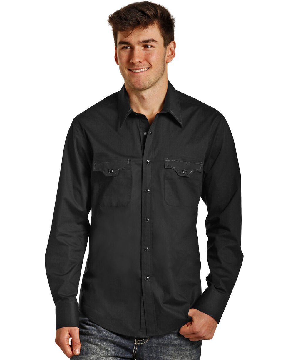 Rock & Roll Cowboy Men's Black Stretch Poplin Long Sleeve Shirt, Black, hi-res