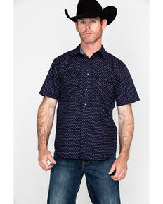 Cody James Men's Scalene Geo Print Short Sleeve Western Shirt , Navy, hi-res