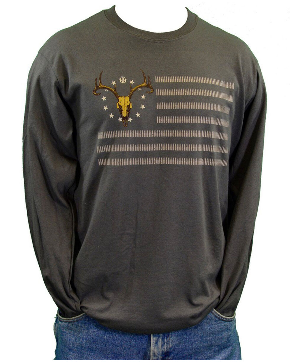Cowboy Hardware Men's American Deer Flag Graphic Long Sleeve Shirt , Charcoal, hi-res