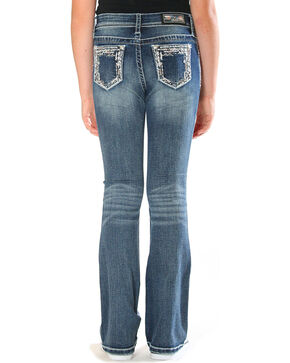 Grace in LA Girls' Blue Bling Pocket Border Jeans - Boot Cut , Blue, hi-res