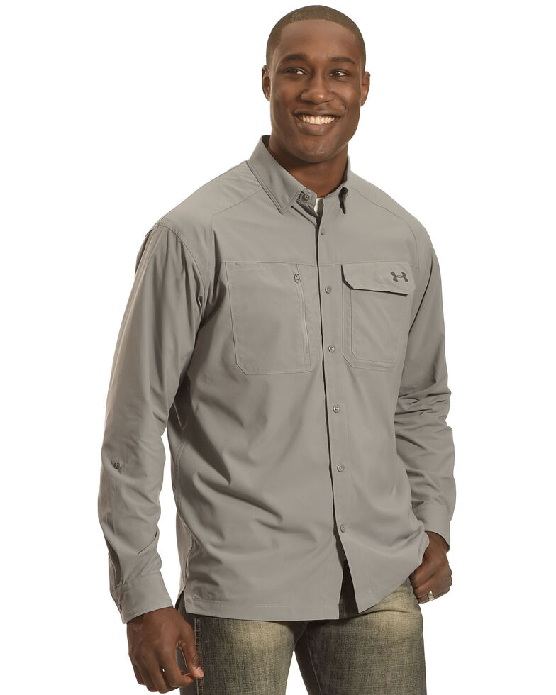 Under Armour Men's Fish Hunter Long Sleeve Shirt , Steel, hi-res