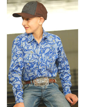 Cinch Boys' Paisley Printed Long Sleeve Shirt, Blue, hi-res