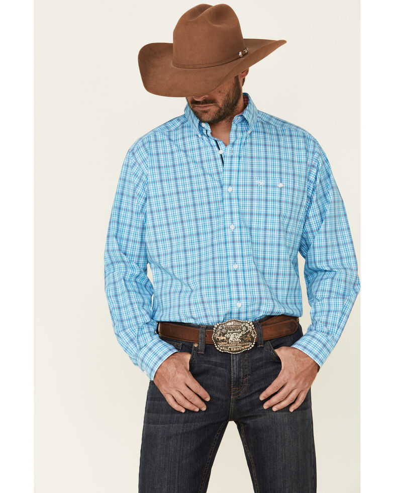 Ariat Men's Commanding Stretch Small Plaid Long Sleeve Western Shirt , Turquoise, hi-res