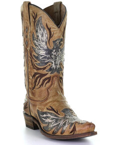 Corral Men's Honey Inlay Western Boots - Snip Toe, Honey, hi-res
