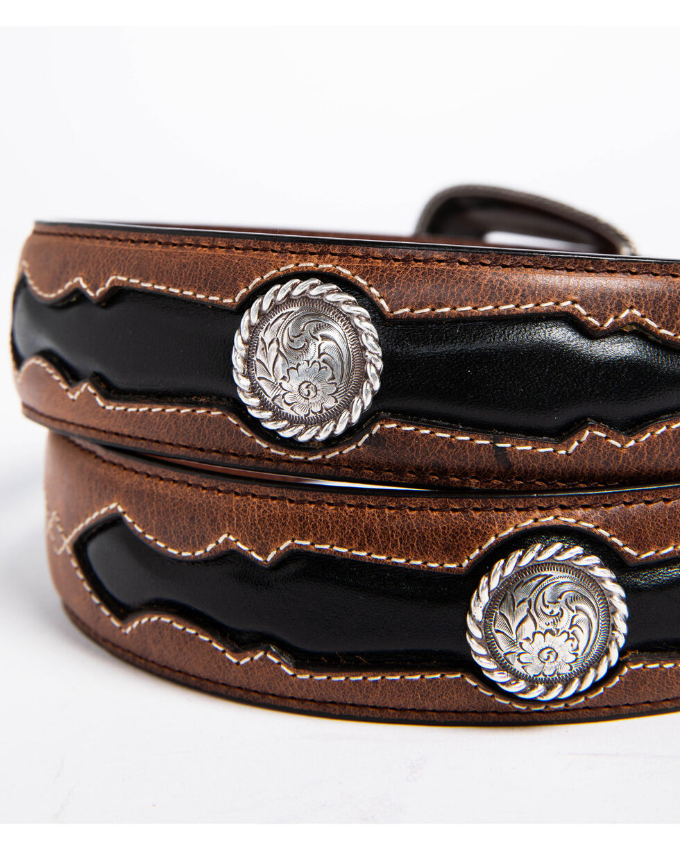 AndWest Men's Fancy Inlay Leather Belt, Brown, hi-res