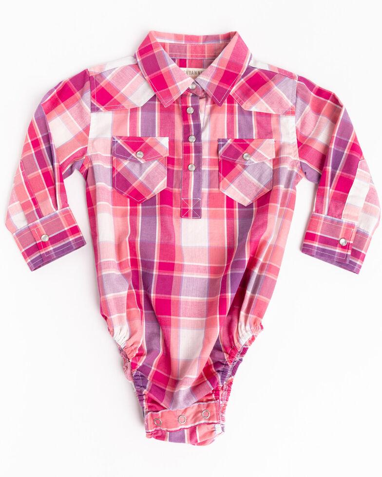 Shyanne Infant Girls' Pink & Purple Plaid Long Sleeve Western Onesie, Pink, hi-res