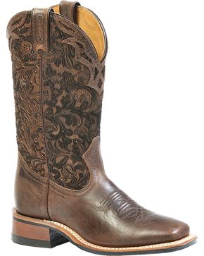Boulet Floral Embossed Cowgirl Boots - Square Toe, Wood, hi-res