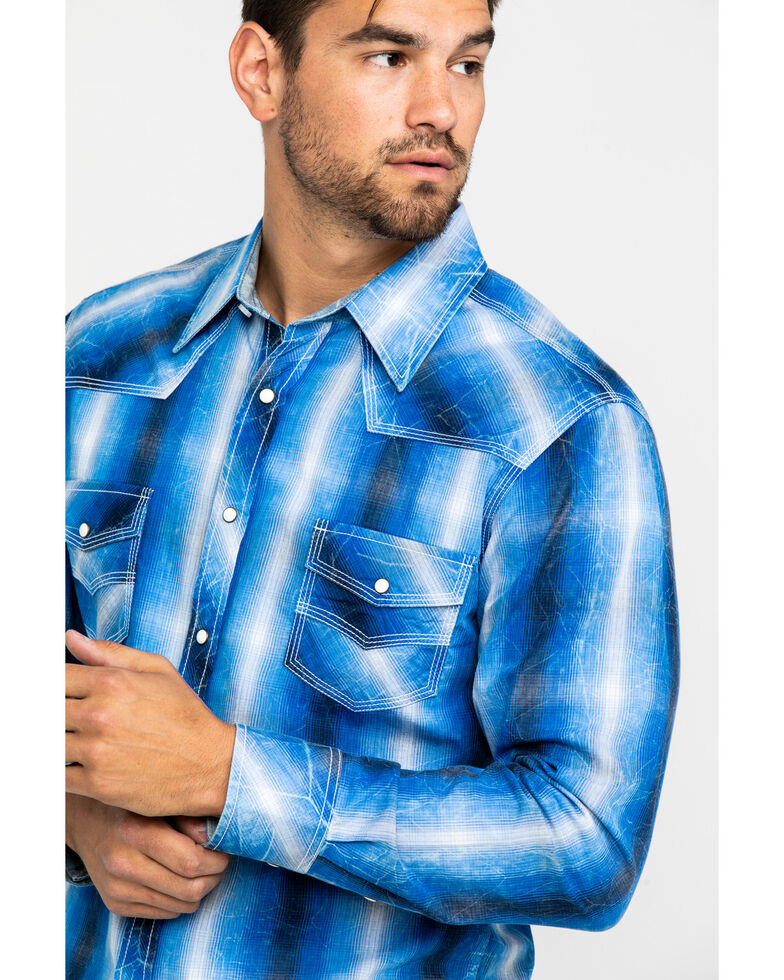 Rock & Roll Cowboy Men's Blue Large Crinkle Plaid Long Sleeve Western Shirt , Indigo, hi-res