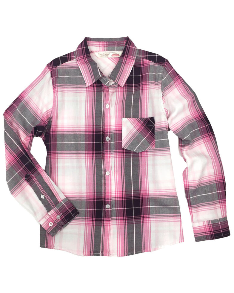 Ely Cattleman Girls' Pink Plaid Tie-Front Long Sleeve Western Shirt , Pink, hi-res