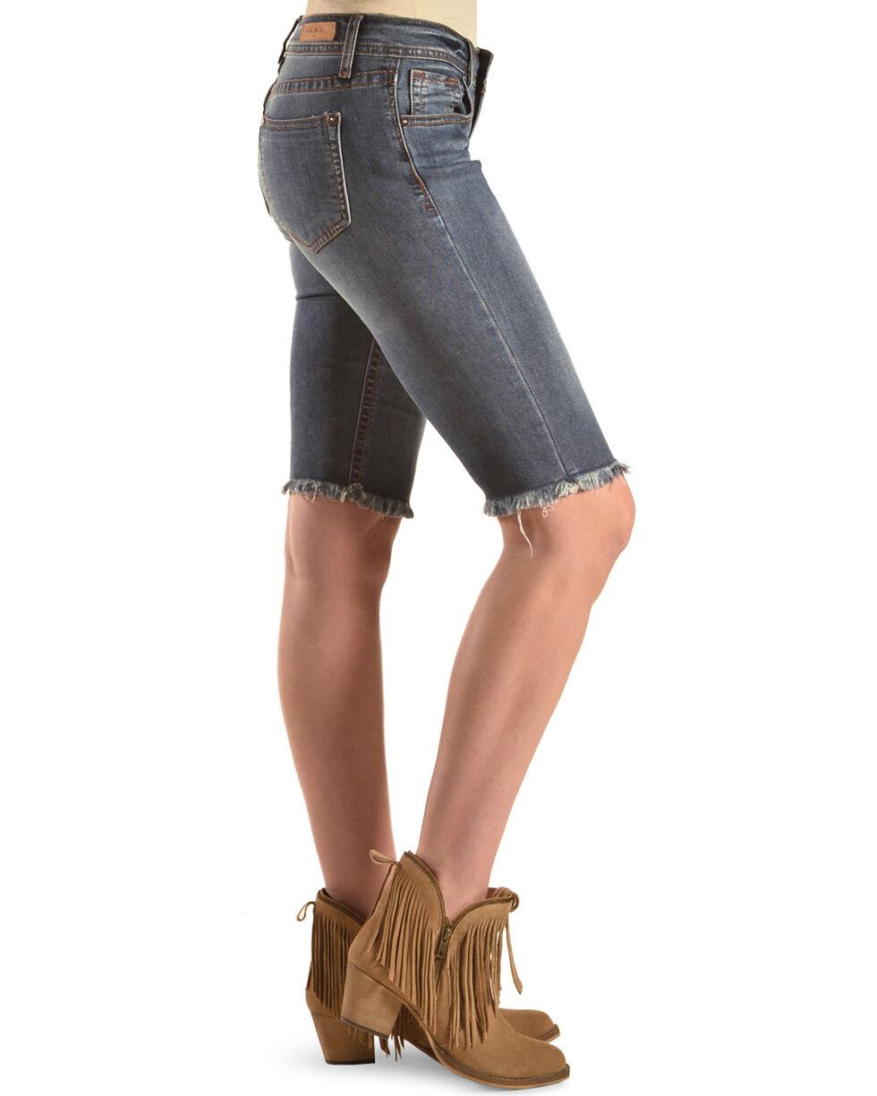 Grace in LA Women's Raw Hem Bermuda Shorts, Indigo, hi-res