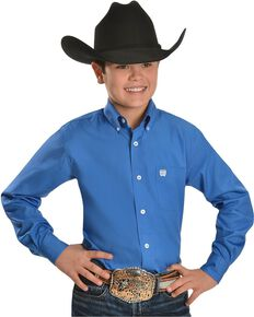 Cinch ® Boys' Blue Button Shirt - 5-16, Blue, hi-res