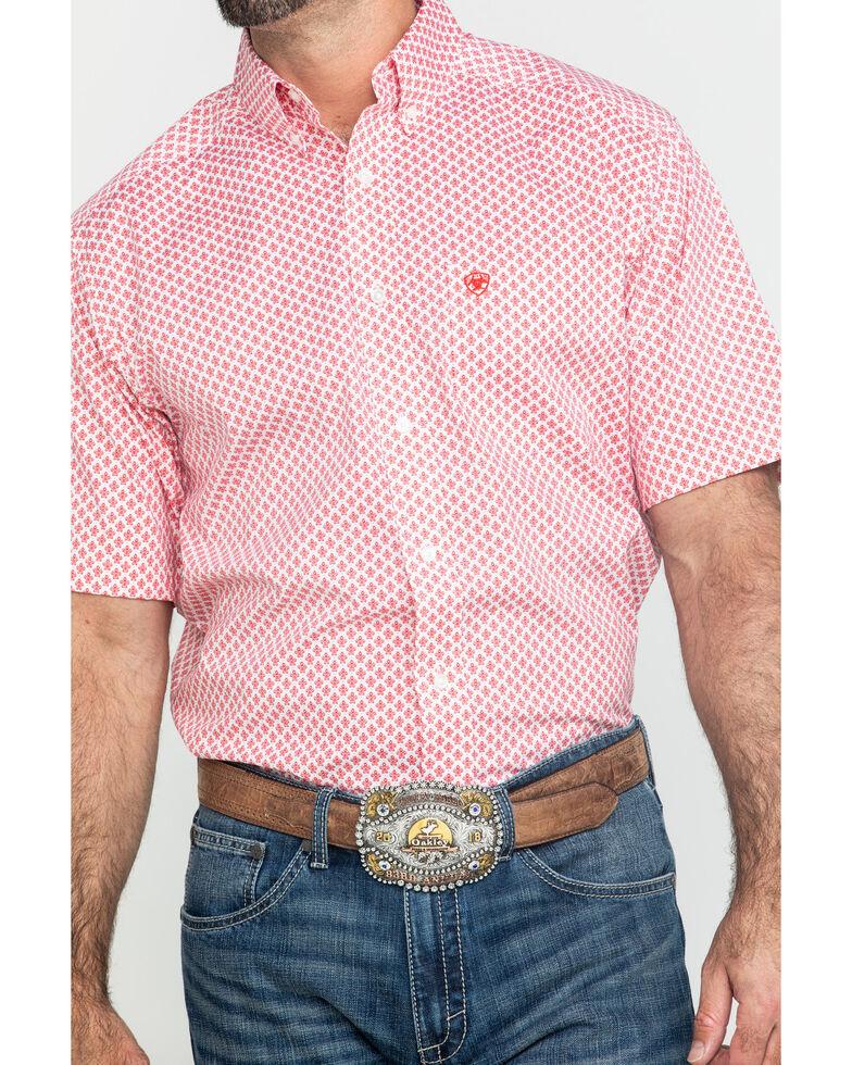 Ariat Men's Griswald Stretch Geo Print Short Sleeve Western Shirt - Big , White, hi-res
