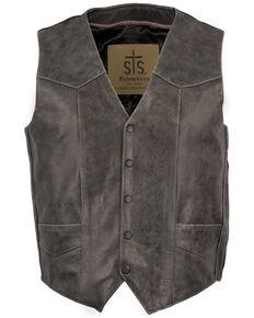STS Ranchwear Men's Black Gunsmoke Antique Leather Chisum Vest - Big , Black, hi-res