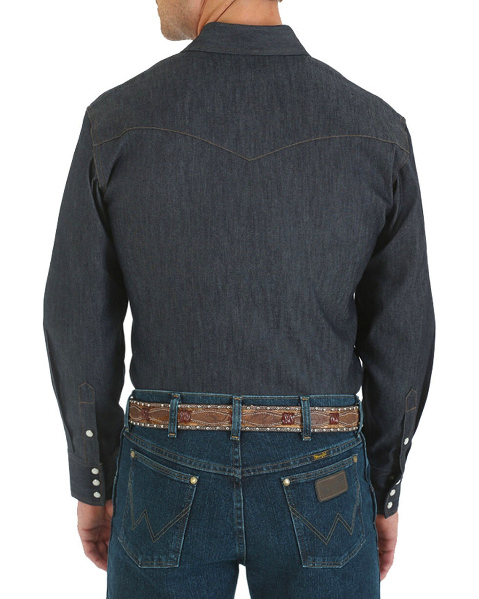 Wrangler Men's Denim Advanced Comfort Work Shirt - Tall, Blue, hi-res