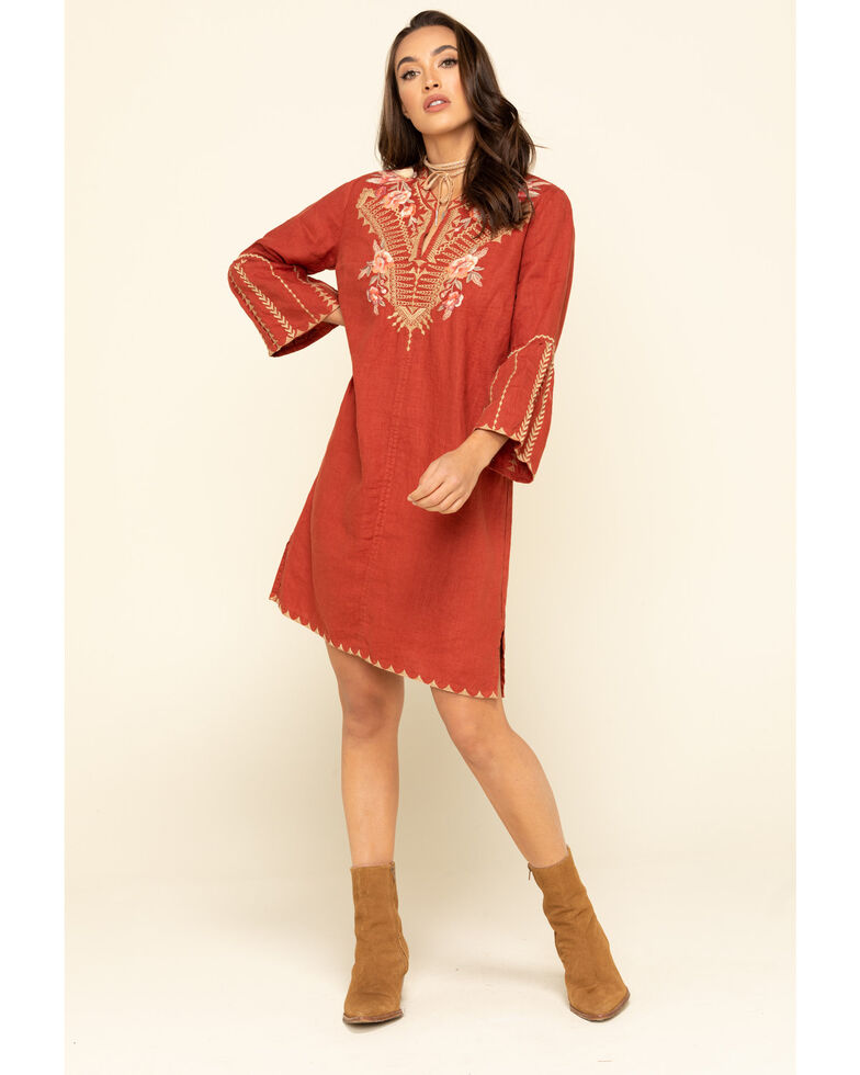 Johnny Was Women's Rianne Flare Sleeve Tunic Dress, Rust Copper, hi-res